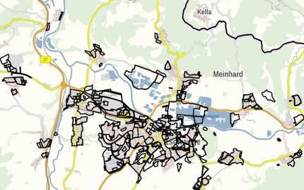 Geltungsbereiche der Bebauungspläne im Werra-Meißner-Kreis